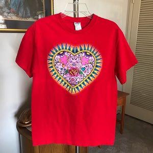 Delta Pro Mens Red & Pink Heart T Shirt SZ L NEW